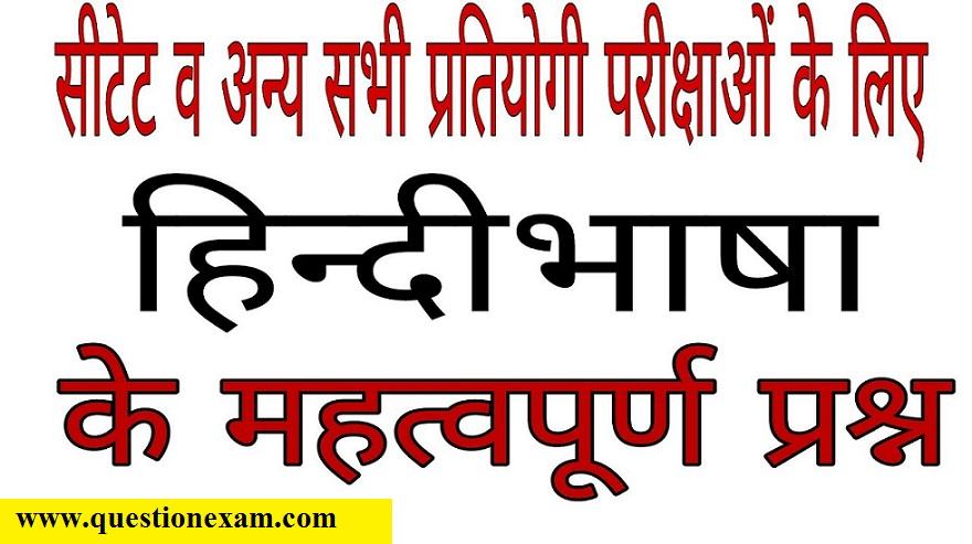 हिन्दीभाषा के महत्वपूर्ण प्रश्न