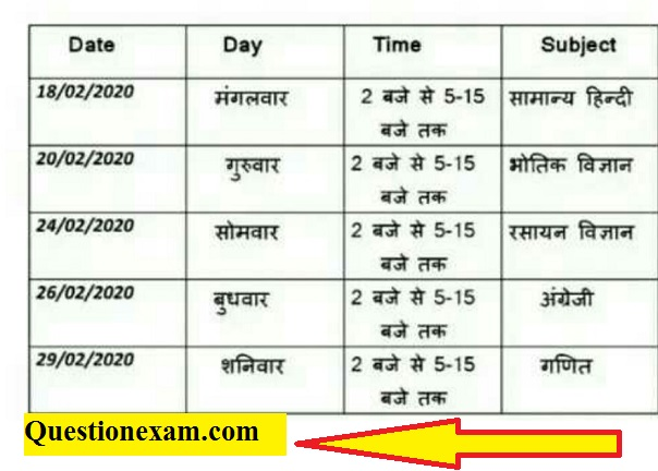 12th u.p board exam time table